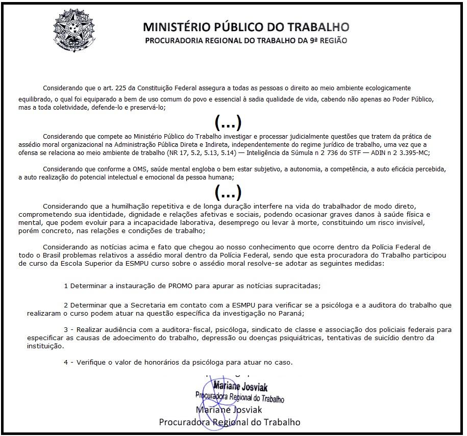 Trechos da Portaria pela qual a procuradora do Trabalho, Mariane Josviak, instaurou procedimento para investigar assédio moral na SR/DPF/PR. A integra está abaixo