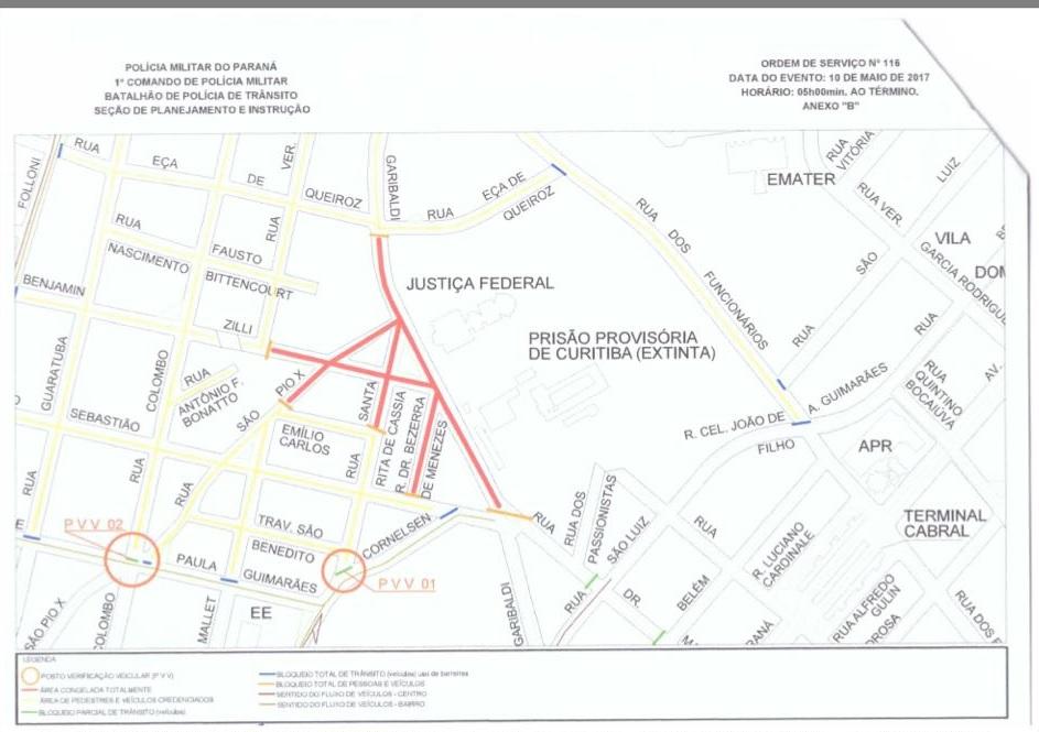 Região em torno do prédio da Justiça Federal onde haverá bloqueio de transito total (em vermelho) e parcial (amarelo)