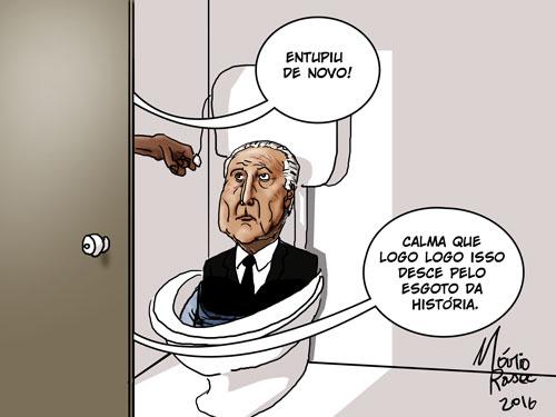 Entupindo o esgoto da história, charge publicada por Mario Rasec, no site Cartapot!guar, em 13 de maio de 2016