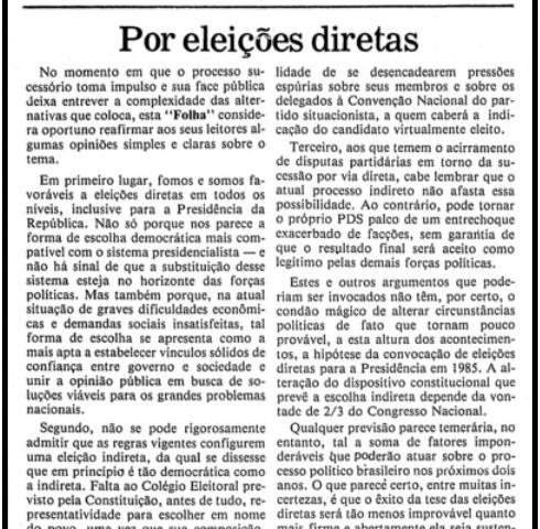 editorial Folha 27 de março de 1983