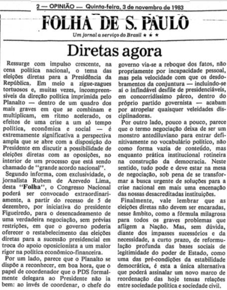 Editoria de 3 de novembro de 1983, que marca o ingresso do jornal na campanha.