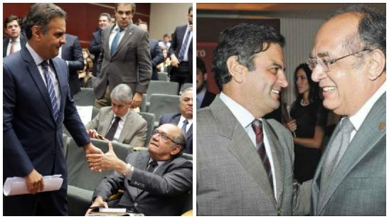 Nas gravações da polícia Federal surgiu a intimidade entre o senador tucano e o ministro do STF. Foto: reprodução do Portal do Helvecio.