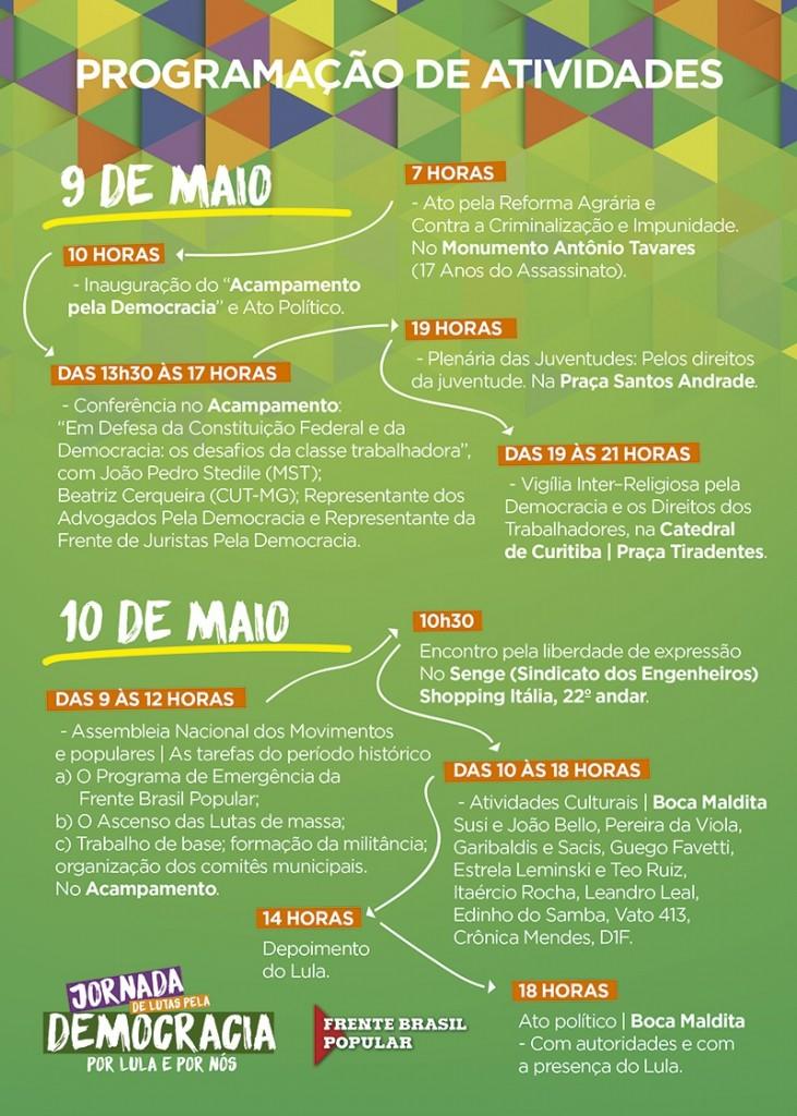 Na hora do depoimento de Lula a Sérgio Moro estão programadas atividades na tradicional Boca Maldita, no centro de Curitiba.