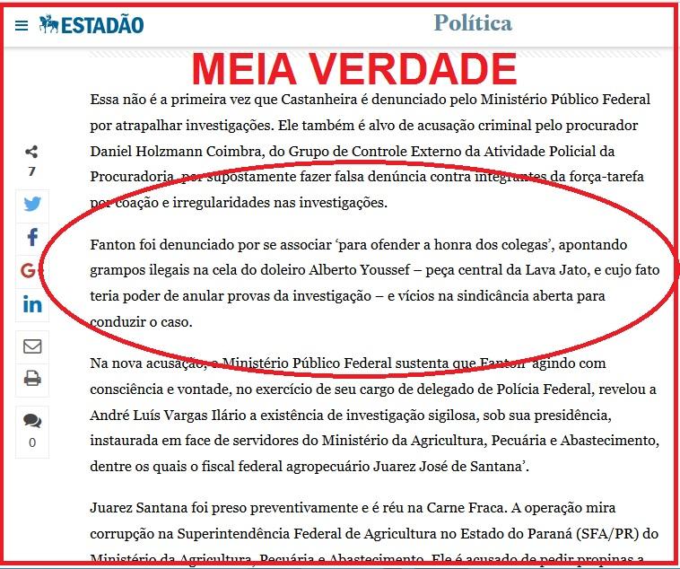 No blog do Estadão, porta-voz informal da Operação Lava Jato, a meia verdade: falam da denúncia de 2015, mas não revelam que ela foi rejeitada em juízo que, inclusive, criticou o MPF. O Recurso ao TRF-4 também foi rejeitado, por unanimidade da turma.