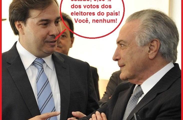 Para não entregarem o anoe maio de mandato, políticos terão que optar entre Maia e Temer, ambos sem votos populares.
