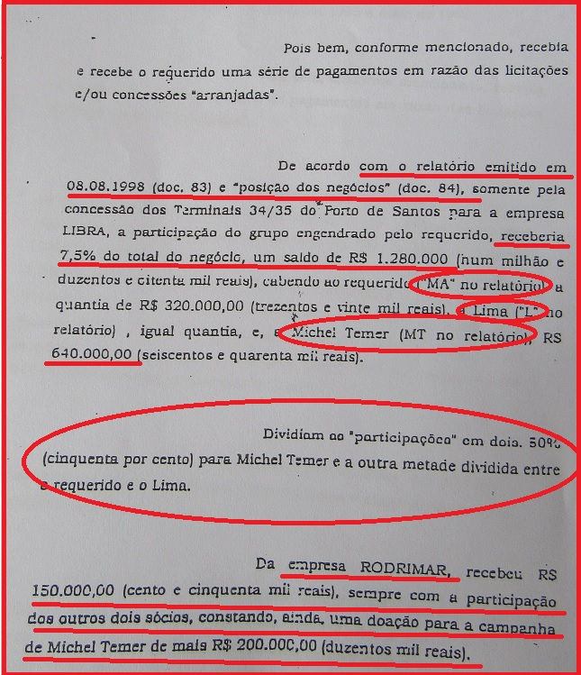 """Na ação na Vara de família já se falava da caixinha distribuída entre Michel Temer (MT), Marcelo Azeredo (MA) e Lima (L) e se citava propinas pagas pela Rodrimar, hoje alvo da investigação da Polícia Federal, assim como o coronel João Baptista Limas, o """"L""""."""