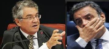 Marco Aurélio Mello (foto Ascom/STF) e Aécio Neves (foto Edilson Rodrigues/Agência Senado)