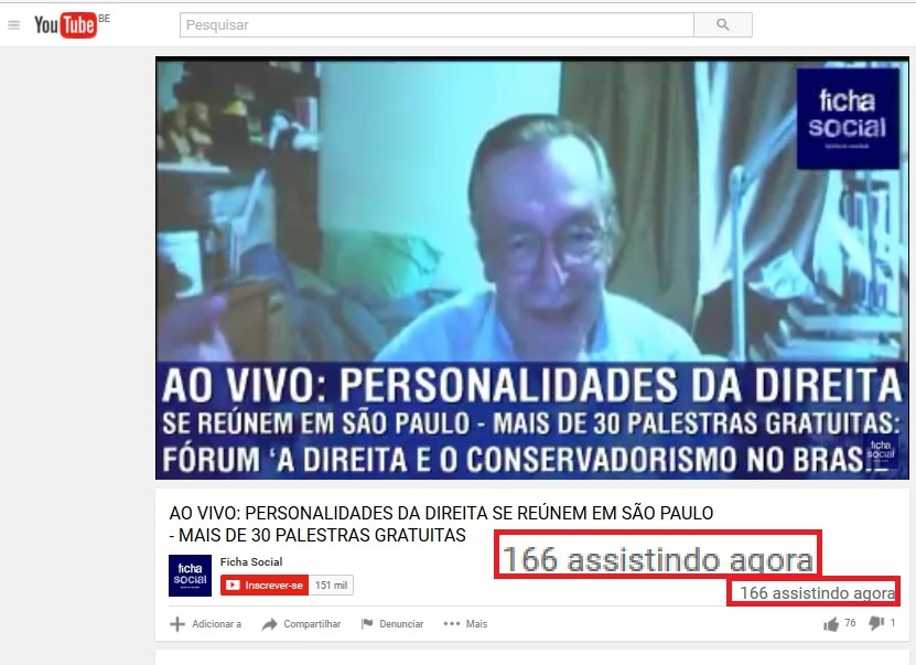 Na hora do mais badalado palestrante, Olavo de Carvalho, o Youtube registrou 161 espectadores.