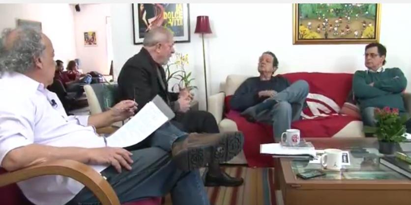 Lula e os três comentaristas esportivos que deram uma aula de jornalismo político. (Foto: reprodução)