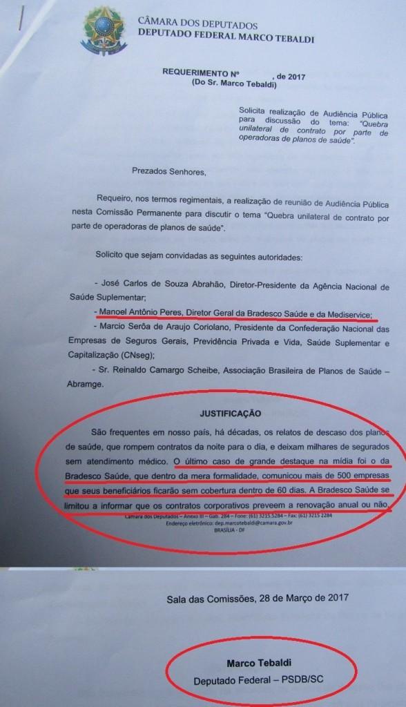 No Requerimento para a realizaçáo da Audiência Pública constava a convocação do presidente da Saúde Bradesco.