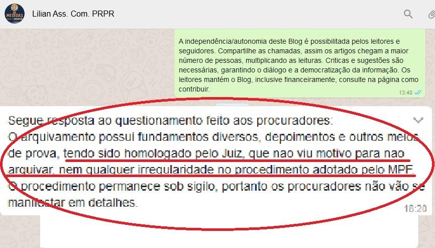 """Na nota enviada pela Assessoria de Comunicação da PRE-PR, o texto foi claro: """"tendo sido homologado pelo juiz"""". Precipitação?"""