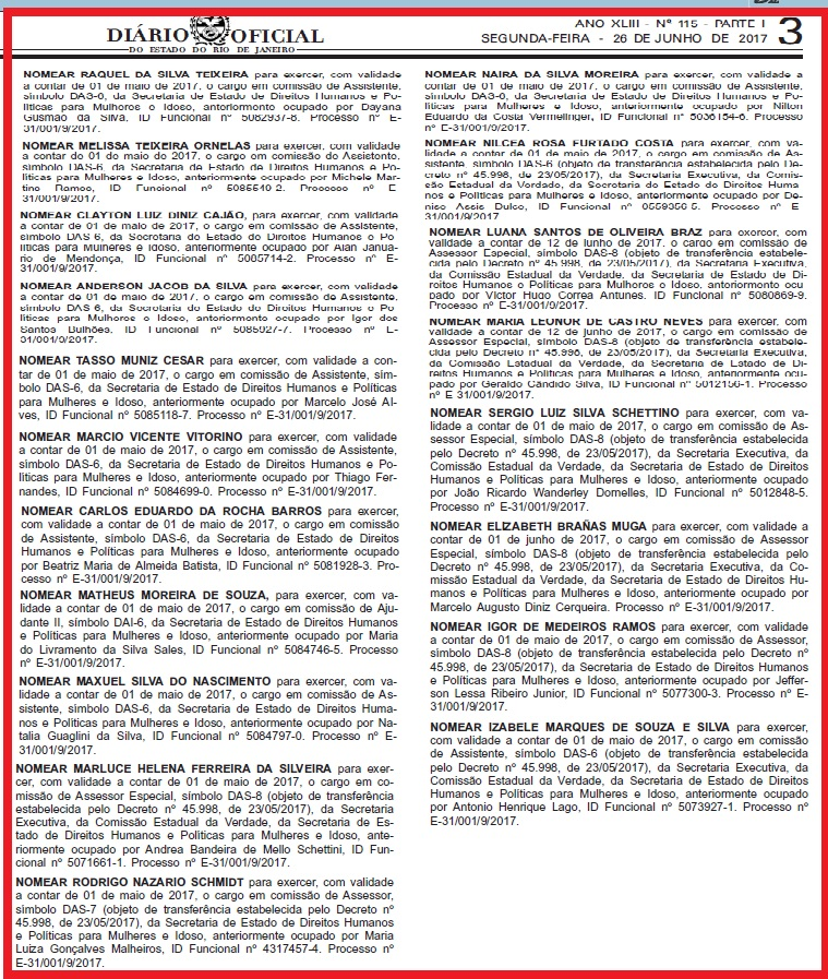 Em un único dia, o DOE (26 de junho) publicou a nomeação de 19 assessores na Secretaria de Direitos Humanos, apesar de toda a crise do governo do Estado. Nçao contando a servidora que ocupou uma função vaga desde 2014, mesmo tendo sido condenada por peculato.