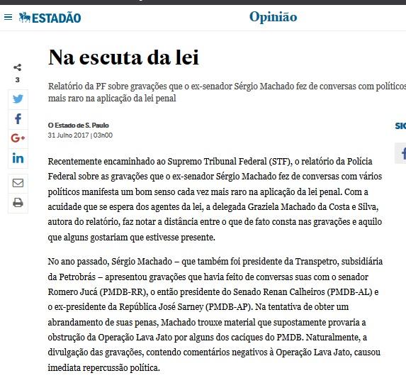 Editorial de O Estado de S. Paulo de segunda-feira, 31.07.17