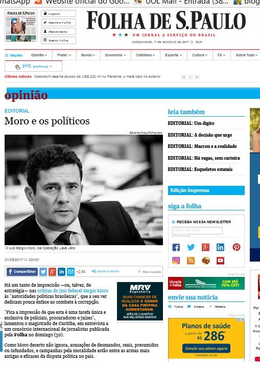 Editorial da Folha de terça--feira,  01 de agosto.