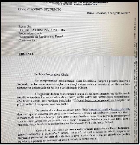 A representação do procurador de Bento Gonçalves resume a apreensão que onTribunal Popular está causando em setores mais conservadores do Judiciário.