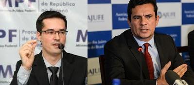 Moro e Dallagnol não ouvira o alerta do delegado Machado. (Fotos reproduções da internet)