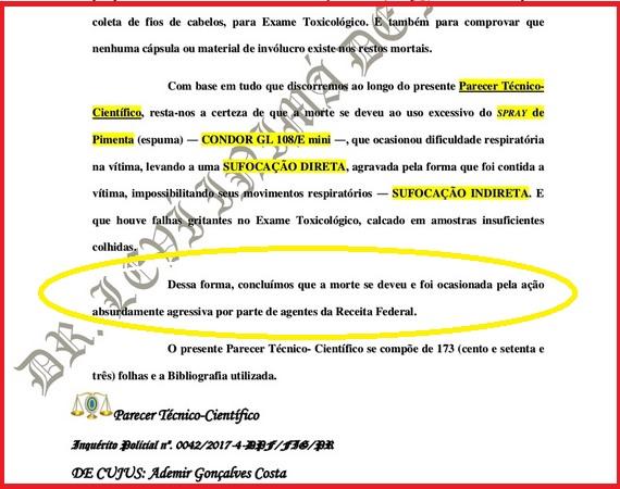 O parecer técnico de Inimá Miranda contesta o Laudo Mecrológico e diz que a causa mortis de Ademir foi consequência da ação dos agentes da Receita Federal. (Reprodução do Laudo)