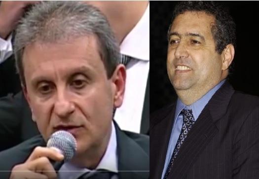 O doleiro Youssef e o ex-deputado Janene, pressionaram cont6ra o trabalho do delegado Machado, provocando-lhe uma crise de stress que acabou gerando sua aposentadoria compulsória. Fotos Reprodução TV Câmara e EBC