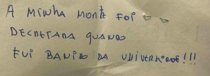 bilhete escrito pelo reitor