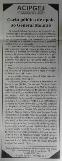 sindicatos de Ponta Grossa apoiam