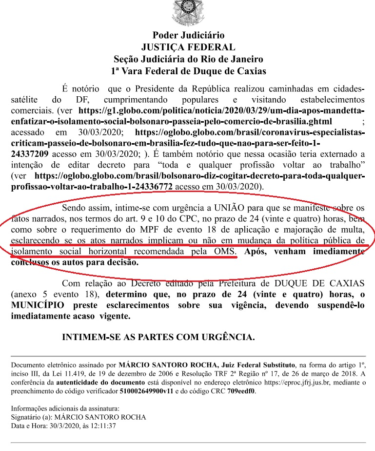 Juiz dá 24hs para AGU explicar atos de Bolsonaro